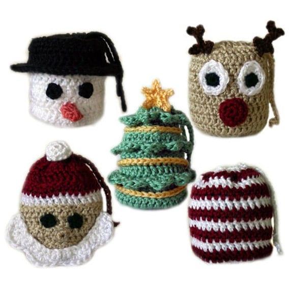 Crochet Grocery Bag Pattern : 5 Christmas Gift Bags PDF Crochet Pattern Instant Download