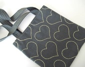Yellow Hearts On Grey Tote Bag