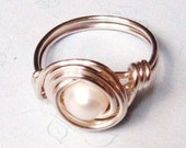 Pearl Ring - White Freshwater Pearl Ring - Sterling Silver Ring - Wire Wrapped Ring