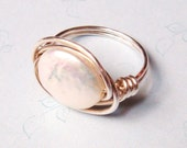 White Freshwater Coin Pearl Bead Sterling Silver Wire Wrapped Ring
