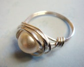 White Pearl Ring   Bridesmaid Ring  Vintage Glass Pearl Bead Sterling Silver Wire Wrapped Ring
