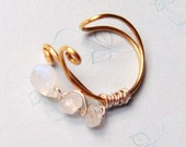 Moonstone Earcuff   Gold Ear Wrap  Brass and Moonstones