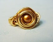 Gold Freshwater Pearl Bead Brass Wire Wrapped Ring