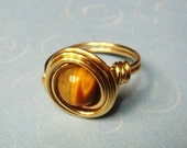Tigers Eye Ring - 14K Gold Ring - Wire Wrapped Ring