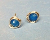 Blue Chalcedony Faceted Gemstone and Sterling Silver Wire Wrapped Post Earrings