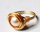 Pearl Ring - White Pearl Ring - Vintage Glass Pearl Ring - 14K Gold Ring - Wire Wrapped Ring