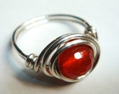 Red Ring   Red Carnelian Gemstone Ring   Sterling Silver Ring  Wire Wrapped Ring  Silver Jewelry