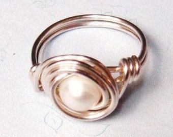 Pearl Ring  White Freshwater Pearl Sterling Silver Wire Wrapped Ring  Sterling Silver Ring