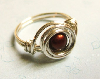 Red Pearl Ring  Pearl Ring   Red Freshwater Pearl Ring  Sterling Silver Ring   Wire Wrapped Ring