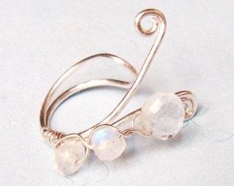 Silver Ear Cuff   Moonstone Ear Cuff   April Birthstone  April Birthday  Ear Wrap  Ear Cuff Wrap