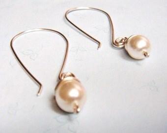 White Pearl Earrings   Bridal Bridesmaid Earrings   White Glass Pearl Wire Wrap Jewelry Dangle Earrings