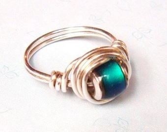 Mood Ring   Sterling Silver Ring   Sterling Silver Mood Ring   Wire Wrapped Ring