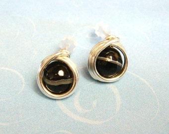 Black Onyx Earrings - Black Post Earrings - Sterling Silver Post Earrings - Stud Earrings - Wire Wrap Post  - Black Onyx Jewelry