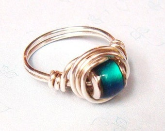 Sterling Silver Wire Wrapped Ring   Sterling Silver Mood Ring   Color Change Ring  Christmas Jewelry Gift