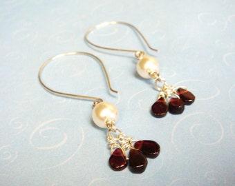 Garnet Earrings   Teardrop Garnets and Pearl Bead Sterling Silver Wire Wrapped Earrings  January Birthstone  January Birthday