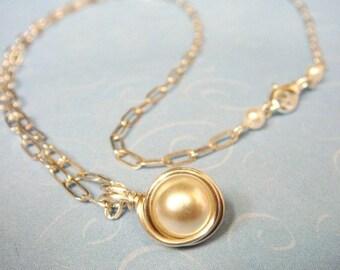 Pearl Necklace  Swarovski White Pearl Sterling Silver Necklace