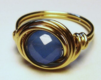 Blue Ring   Blue Chalcedony Gemstone Ring   14K Gold Filled Ring   Wire Wrapped Ring