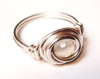 Moonstone Ring  Moonstone Gemstone Sterling Silver Ring   June Birthstone   June Birthday