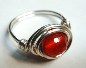 Sterling Silver Ring   925 Sterling Silver   Red Carnelian Gemstone Ring   Sterling Silver Ring  Wire Wrapped
