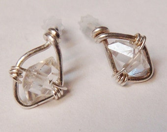 Herkimer Diamond Post Earrings - Serenity Herkimer Gemstone Sterling Silver Studs - Wire Wrapped Post Earrings