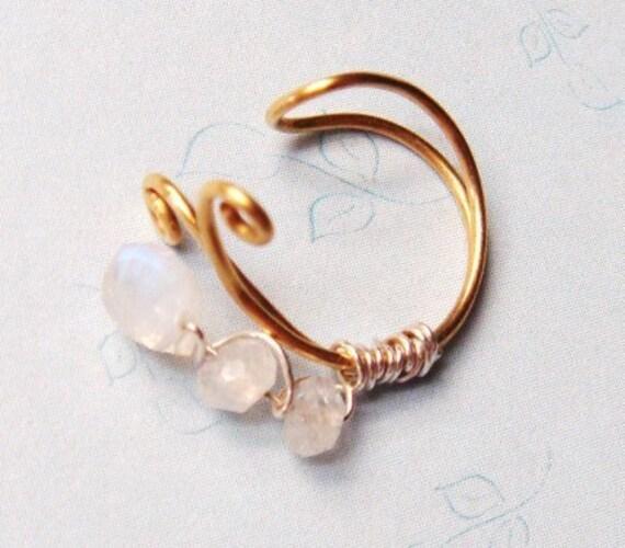 14K Gold Ear Cuff - Bridal Ear Cuff - 14k Gold and Moonstones - Moonstone Ear Cuff
