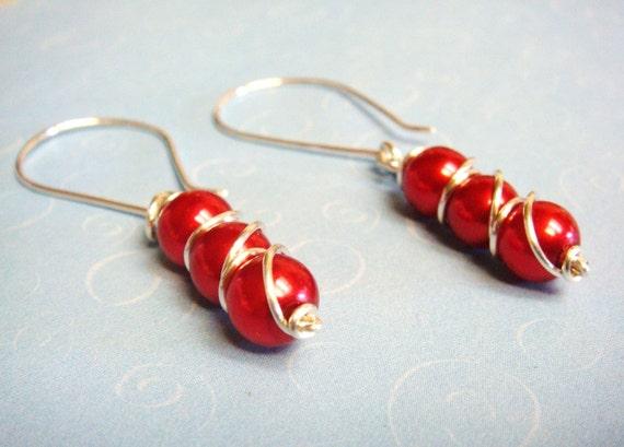Red Glass Pearl Triple Decker Sterling Silver Wire Wrap Jewelry Earrings - Valentine Jewelry - Valentine Earrings