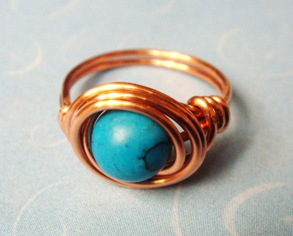 Turquoise Ring  Turquoise Gemstone Ring   Copper Ring   Wire Wrapped Ring   December Birthstone  December Birthday