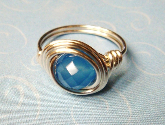 Chalcedony Ring - Blue Chalcedony Faceted Gemstone and Sterling Silver Wire Wrapped Ring