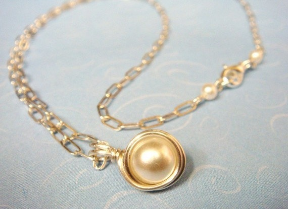 Pearl Necklace  Swarovski White Pearl Sterling Silver Necklace