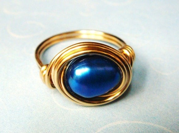Cobalt Blue Pearl Ring - Cobalt Blue Freshwater Pearl Ring -14K Gold Ring - Wire Wrapped Ring