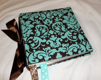 Teal and Brown Damask Recipe Album  With Custom Recipe cards and File tabs