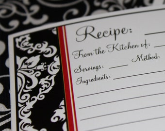20 Recipe Cards Black and White Damask with Red Trim 4x6 (3x5 by request)