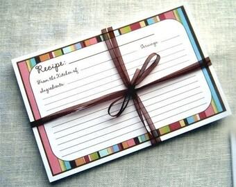20 Recipe Cards Susie's Stripe Recipe Cards 4x6 (3x5 by request)