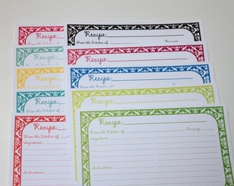 Recipe Cards Damask Spring-Summer Variety pack Recipe Cards 4x6 (3x5 by request)