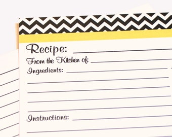 20 Recipe Cards Black and White Chevron Zigzag with your choice of color Trim 4x6 (3x5 by request)