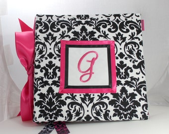 Recipe Organizer- Monogrammed White and Black Damask Recipe Album WithPersonlized  Custom Recipe cards and File tabs