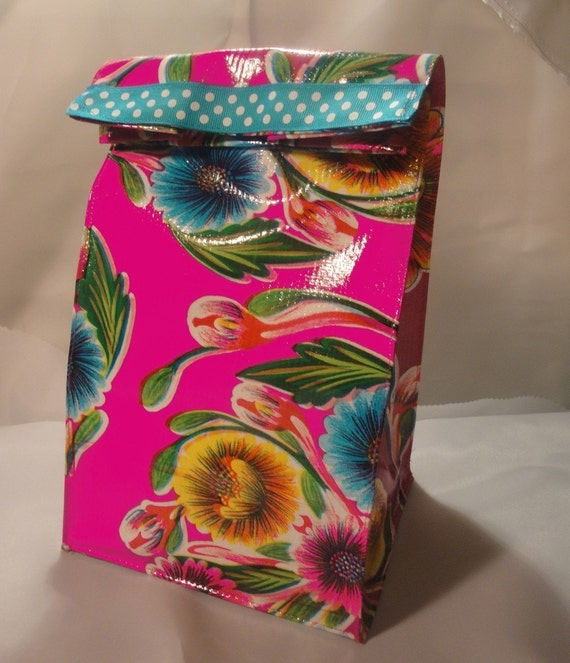 Reusable Magenta Floral Oilcloth  Lunch Bag with turquoise trim