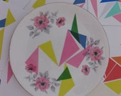Graphic Shapes Pink\/Yellow\/Green Plate