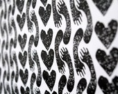 SALE Screenprinted Wrapping Paper with Hearts and Hands - Black and White