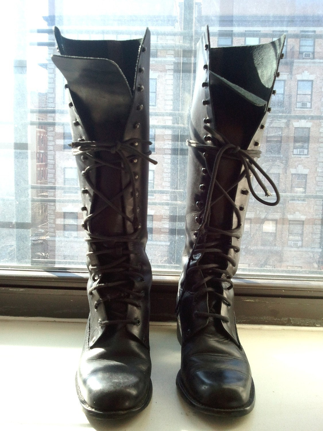 Women's Vintage Sz 37 Tall Black Leather Combat Boots