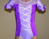 Princess Rapunzel Inspired Gymnastics Dance  Short Sleeve Leotard  Size 2T - Girls 10