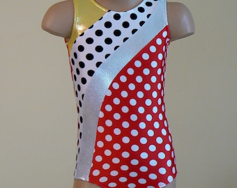 Red Polka Dots Gymnastics Dance Leotard. Toddlers Girls Gymnastics Leotard. SIZES 2T - Girls 10