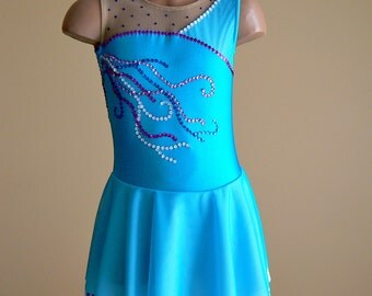 Competition Figure Skating Dress. Dance Dress. Performance Dress.  Turquoise Dress.   SIZES 2T Girls 12