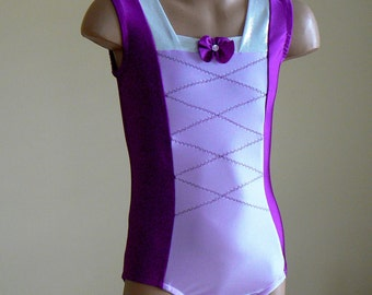 Princess Rapunzel Inspired Gymnastics Dance Leotard. Dancewear. Performance Leotard. Size 2T - Girls 10