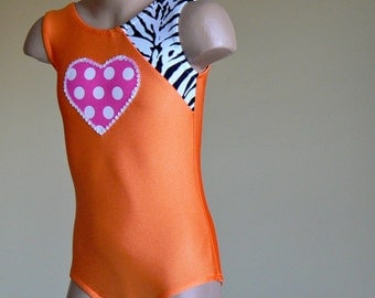 Gymnastics Leotard with Heart Applique. Toddlers Girls Gymnastics Leotard. Dance Leotard.   Size 2T - Girls 12