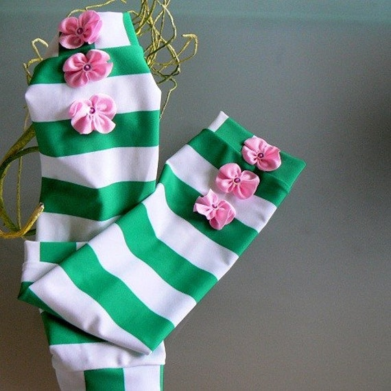 Leg Warmers Green and White Stripes Girls 2T - C6
