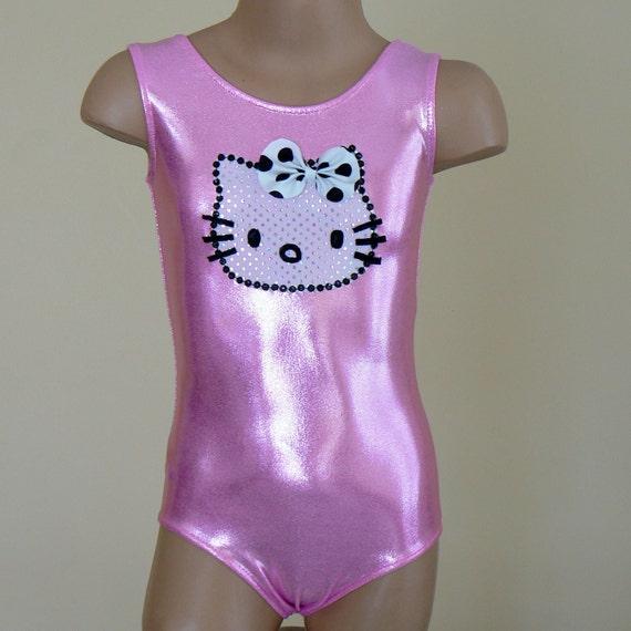 Little Dancer Skater or Gymnast Celebration Leotard with Kitty Applique Size 2T - C7