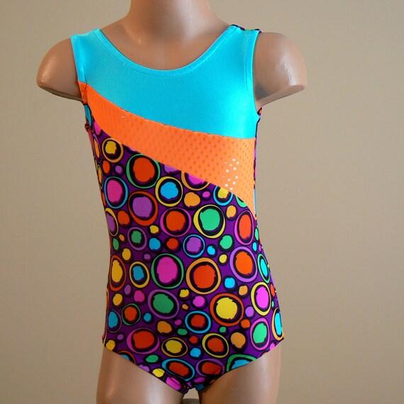 Gymnastic Dance Leotard -  multicolored circular print - Size 2T - Child 7