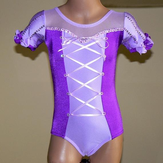 Princess Rapunzel Inspired Gymnastics Dance  Short Sleeve Leotard  Size 2T - C7