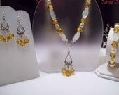 Swarovski Elements Clear AB Crystal with Amber and Milky White Glass Bead Necklace, Bracelet and Earring Set